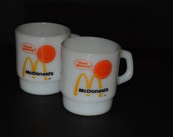Set of 2 RARE, mint, FIRE KING, McDonald's Mugs, Good Morning, D handle, Coffee mugs, Tea Cups, Milk glass, vintage, vintage Fire King