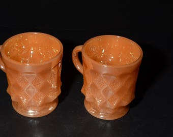 FIRE KING, Set of 2, Vintage, Peach luster, Mug, Kimberly pattern, excellent condition, 1950s, Anchor Hocking, Coffee mug, Peach lustre