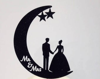 Wedding Cake Topper:  Bride, Groom & the Moon - Just elegant and beautiful in sparkling glitter!