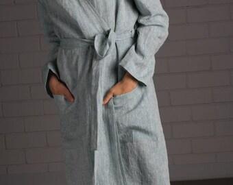 Linen bathrobe - Linen robe - Handmade linen clothing