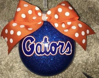Florida gators inspired christmas ornament