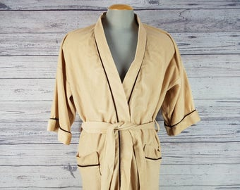 Vintage 70s The Men's Store One Size up to Large Bathrobe Beige & Brown Faux Velour Velvet Look Full Length Soft Bath Robe Smoking Jacket