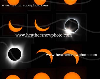 Total Solar Eclipse 2017 5x7 or 8x10 MATCHING SET 12 PHASES Sun Moon Photograph Print Original
