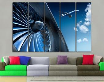 Aircraft Engine Vintage Aircraft Canvas Art Vintage  Military Canvas  Aircraft Wall Decor Aircraft Decor Aviation Wall Decor