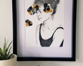 Semi abstract PRINT, female portrait, Originally made with acrylic paint and charcoal, Pencil Drawing, black, white, gold