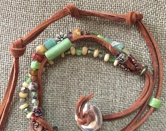 Leather and bead wrap bracelet