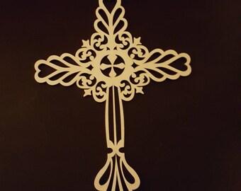 Fancy Cross on Wood