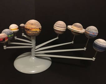 3D Paper Quilling Recycled Art Solar System Planetarium - Recycled Magazines Paper Strips
