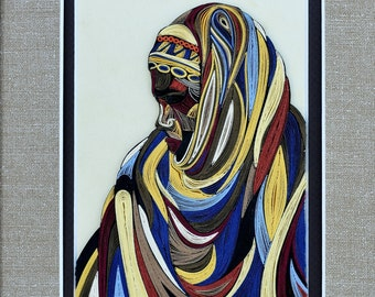 "African Woman Portrait - 1/8""(3mm) paper strips"