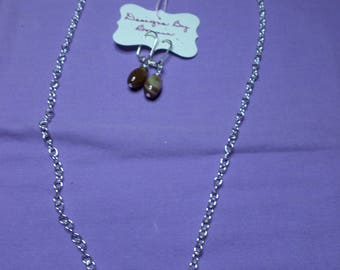 "18"" silver chain with a bar holding brown stripe agate and matching earrings"