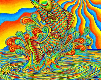 Psychedelic Rainbow Trout Fish Colorful Giclée Fine Art Print