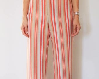 Vintage Striped Wide Leg Trousers