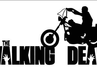 The Walking Dead logo with motorcycle vinyl decal