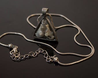 Resin Necklace with Bone.  Triangle Necklace with Bones in Resin.
