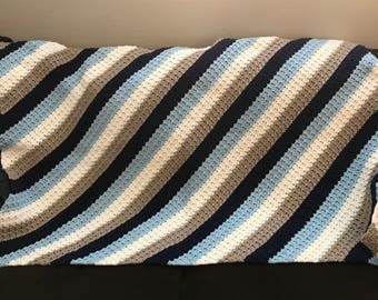 Diagonal Stripe Afghan