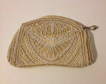 Vintage Antique 1920's Flapper Art Deco Purse Hand Evening Bag Ivory Glass Bead Beaded