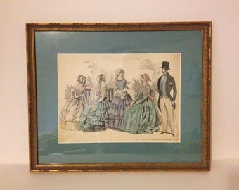 """1870 Antique Vintage German Fashion Plate Print Victorian Picture Gold Frame 19th Century Hand Colored Steel Engraving Measures 16"""" x 13"""""""
