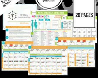 80 Day Fitness Planner | 2,100 - 2,299 Calorie Range | Printable Meal Planner | Meal Prep, Meal Plan, Grocery List & More!