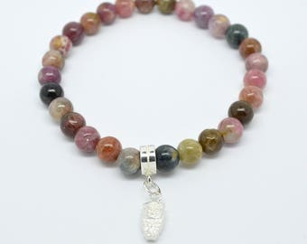 Multi-coloured Tourmaline stretchy bracelet with sterling silver owl charm