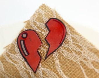 small 2pc broken heart pin