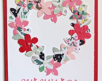 Valentine's Flower Heart, Bright or Calico