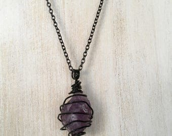 Black wire wrapped amethyst necklace