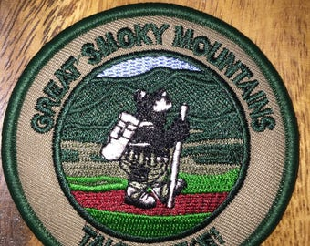 Great Smoky Mountians patch hiking smoky the bear on top of ole Boy Scout Girl Scout