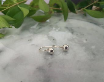 Small sterling silver ball hook earrings