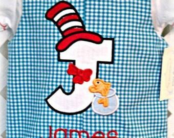 Boys Jon Jon, Shirt and Party Hat Set with Seus Cat