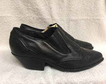 Maine Woods Tomahawk Black Leather Pointed Toe Cowboy Ankle Boots 9.5M - still in box, never worn