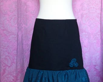 Black flared skirt size 42 with roses and green ruffle