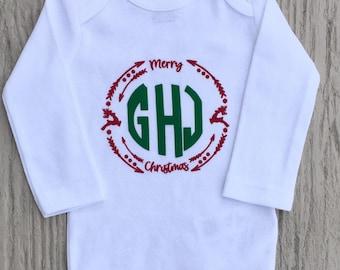 Baby Monogram Christmas Onesie!
