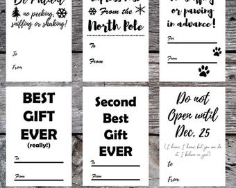 Printable Holiday Tags, Christmas Tags, Instant Download