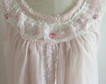 Stunning 1960s nightie negligee palest pink