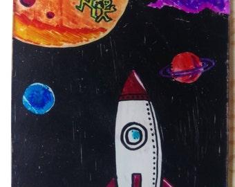 Rocket Space Ship Bookmark