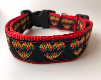 "Handcrafted 1"" Rasta Heart Dog Collar"