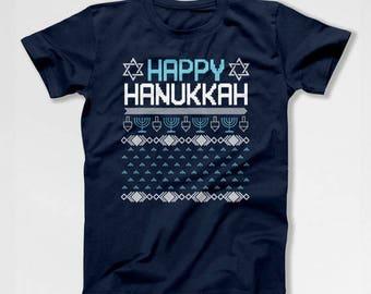 Hanukkah Gifts Chanukah T Shirt Jewish Clothing Holiday Present Israel Clothes Hanukkah TShirt Happy Hanukkah Mens Ladies Tee TEP-381