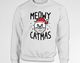 Funny Christmas Sweater Merry Xmas Clothing Cat Sweatshirt Holiday Gifts For Cat Lovers Christmas Jumper Meowy Catmas Hoodie TEP-522