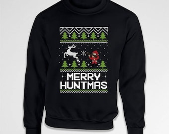 Funny Xmas Sweatshirt Ugly Christmas Sweater Hunter Gifts For Men Holiday Clothing Hunting Apparel Christmas Hoodie Xmas Outfits TEP-552