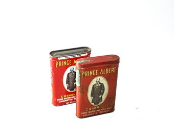 Prince Albert Pipe and Cigarette Tobacco Tins - Set of 2