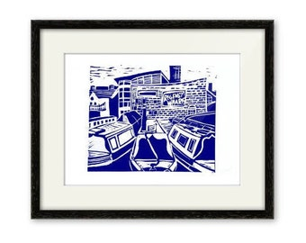 Regency Wharf-Linocut-Print-Gas Street Basin-Birmingham Canal-Contemporary Art Signed-Blue Ink-Unframed