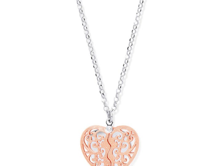 "Rose Gold On Sterling Silver Filigree Design Opening Heart To Heart 18"" Necklace"