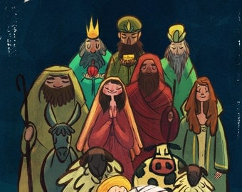 "Christmas Nativity Card, ""A King is Born,"" 5 by 7 inches"