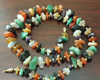 Multi Semi-Precious Stone Chip Necklace