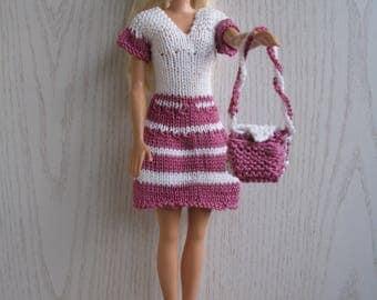 White crimson dress with handbag for Barbie knitted handmade, Barbie fashion clothing