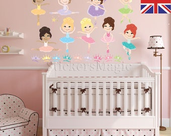 Ballerina Nursery Stickers,Repositionable Fabric Wall Decals, Removable  Vinyl Wall Sticker Kid, Wall