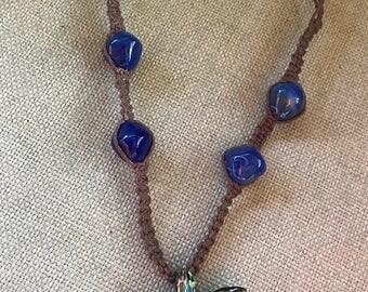 Starfish Glass Pendant Hemp Choker Necklace