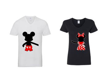Valentine Gifts Disney Hugging Minnie Mickey COUPLE Printed Adult V Neck Shirts Unisex  VNeck T-Shirts for Men Women Matching Clothes