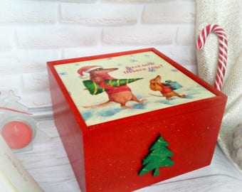 Christmas box Wood box Sliding box Wooden gift box Christmas storage Present box  Personalised storage Ornament box Keepsake box Holiday box
