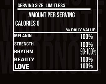 Black Goddess Nutritional Facts SVG African American Pride Black History Month Black Panther Strength